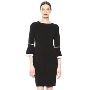 CALVIN KLEIN Black Sheath Dress with Flare Sleeves